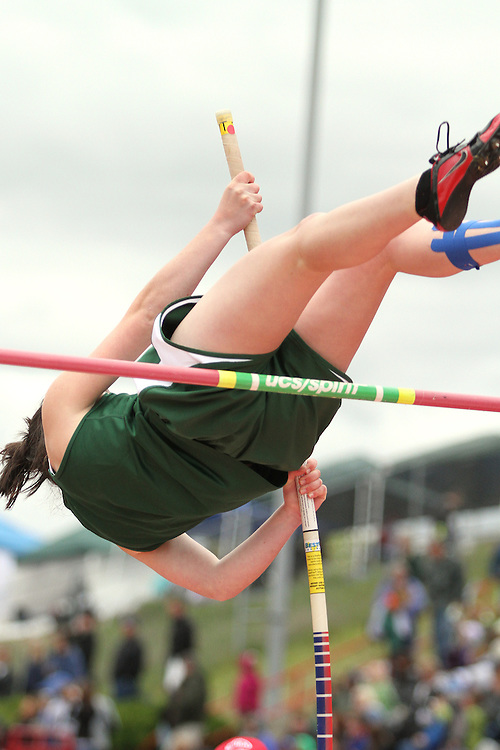 Photograph from the WIAA State Championships at Eastern Washington University in Cheney, Washington, during the 2010 Mt. Rainier Lutheran High School track and field season (pole vault photo sequence, 8 of 14).