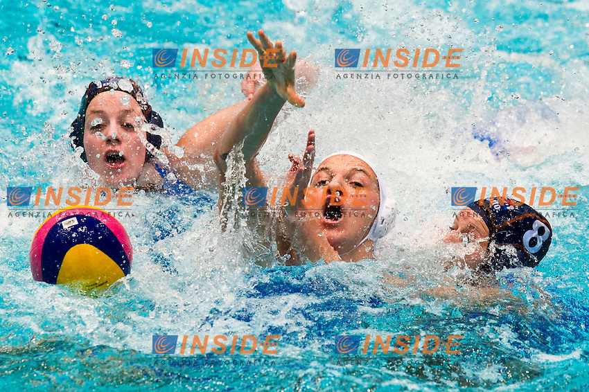 Eindhoven , Netherlands (Netherlands ) 24/1/2012.LEN European  Water Polo Championships 2012.Day 09 - Women.Italia  (White) - Netherlands  (Blue)..Netherlands .8 REMERS Robbin..Photo Insidefoto / Giorgio Scala