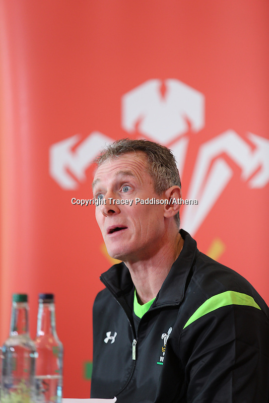Friday 13 February 2015<br /> Pictured: Rob Howley<br /> Re: Wales rugby coach Rob Howley talks to the media at the Vale Resort Hotel ahead of the Scotland v Wales game in Murrayfield, Edinburgh on Sunday.