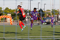 Rochester, NY - Saturday June 11, 2016: Western New York Flash defender Jaelene Hinkle (15), Orlando Pride forward Jasmyne Spencer (23) during a regular season National Women's Soccer League (NWSL) match between the Western New York Flash and the Orlando Pride at Rochester Rhinos Stadium.