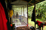 Jaguar (Panthera onca) biologists, Stephanny Arroyo-Arce and Ian Thomson, at research station in mosquito net, Tortuguero National Park, Costa Rica