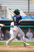 Vermont Lake Monsters center fielder James Terrell (1) at bat during a game against the Auburn Doubledays on July 13, 2016 at Falcon Park in Auburn, New York.  Auburn defeated Vermont 8-4.  (Mike Janes/Four Seam Images)