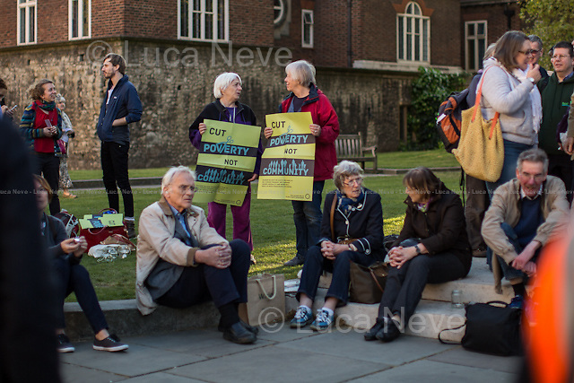 London, 16/04/2014. Today, &quot;End Hunger Fast&quot; campaigners, supported by the Trussel Trust, Church Action on Poverty, Quakers, Just Fair and Evangelical Alliance, held a candle light vigil in Old Palace Yard outside the Houses of Parliament. The demonstration was called &lt;&lt;to come together and offer our voices and prayers in support for government action on hunger&gt;&gt; and against the shocking figures from the Trussel Trust (the biggest food bank charity in the UK), which shown that more than 900,000 people relied on food banks to eat in the past year, an increase of 163 per cent, which is clearly related with people who incurred in benefit sanctions. The Trussell Trust chairman, Chris Mould, in an interview released to the newspaper &quot;The Independent&quot; said: &lt;&lt;the figures were &quot;shocking in 21st century Britain&quot;. He added: &quot;Perhaps most worrying of all, this figure is just the tip of the iceberg of UK food poverty. It doesn&rsquo;t include those helped by other emergency food providers, those living in towns where there is no food bank, people who are too ashamed to seek help or the large number of people who are only just coping by eating less and buying cheap food&quot;&gt;&gt;.<br />
