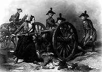 Molly Pitcher at the Battle of Monmouth.  June 1778.  copy of engraving by J.C. Armytage after Alonzo Chappel.  (George Washington Bicentennial Commission)<br />