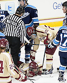 Jess Vallotton (Maine - 4), Kate Leary (BC - 28), Andie Anastos (BC - 23) - The Boston College Eagles defeated the visiting University of Maine Black Bears 5 to 1 on Sunday, October 6, 2013, in their Hockey East season opener at Kelley Rink in Conte Forum in Chestnut Hill, Massachusetts.