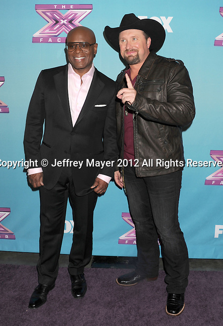 "LOS ANGELES, CA - DECEMBER 20: Antonio ""L.A."" Reid and Tate Stevens attend the FOX's 'The X Factor' Season Finale - Night 2 at CBS Televison City on December 20, 2012 in Los Angeles, California."