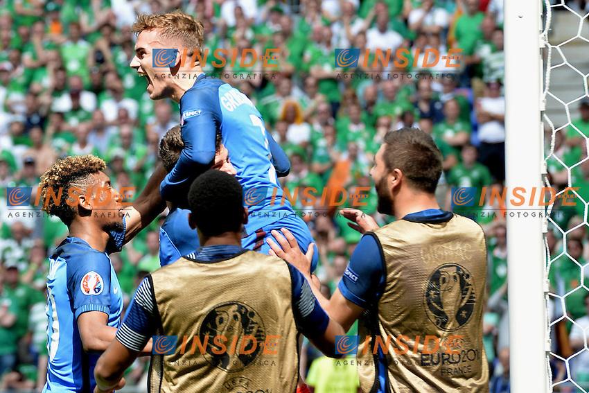 Esultanza Gol antoine griezmann (france) Goal celebration <br /> Lyon 26-06-2016 Stade de Lyon Football Euro2016 France - Ireland / Francia - Irlanda Round of 16. Foto Frederic Chambert / Panoramic / Insidefoto