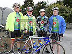 Gerard Duff, Benny Grogan, Chris Fussey and Gordan Corrigan pictured at the start of the D2K cycle from Dunleer to Kilkenny and back in aid of Motor Neurone Disease. Photo:Colin Bell/pressphotos.ie