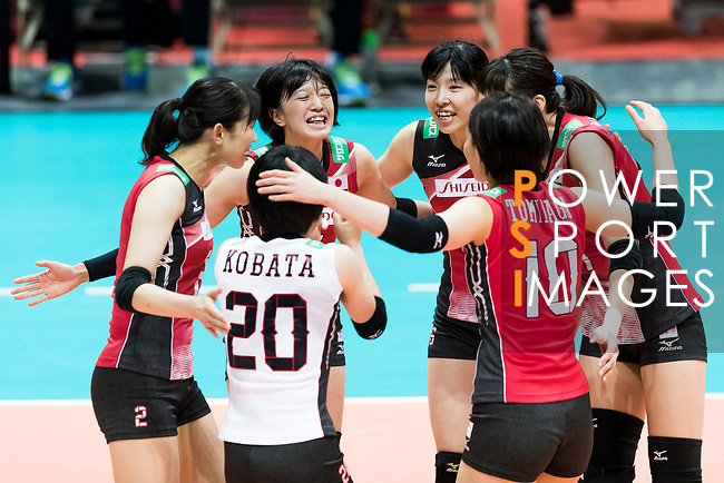 Players of Japan celebrate during the FIVB Volleyball World Grand Prix - Hong Kong 2017 match between Japan and Serbia on 22 July 2017, in Hong Kong, China. Photo by Yu Chun Christopher Wong / Power Sport Images