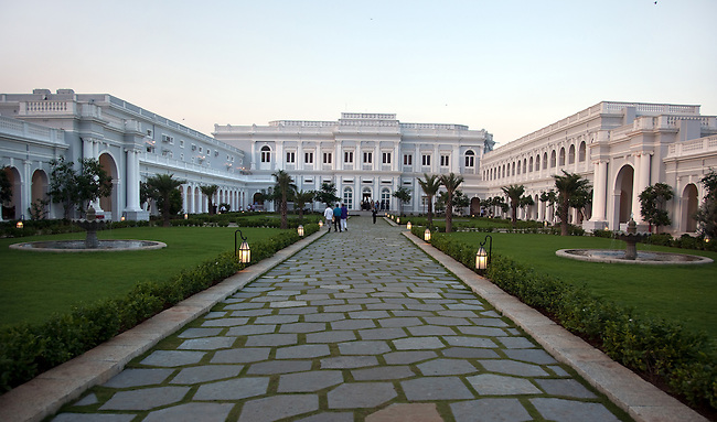 HYDERABAD,INDIA  13 NOVEMBER 2010: The Taj Falaknuma Palace Hotel, Hyderbad, India. The celebrations on the grand opening night celebrates ten years of renovations to bring this remarkable property back to its former majesty. Picture by Graham Crouch/Taj HotelHyderbad,India. 13 November 2010. The Falaknuma Palace Hotel, Hyderbad,India. This heritage property , belonging to the Nizam of Hyderabad, has been refurbished in conjunction with Taj Hotels and added to the groups roster of luxury properties. Stunning in its fine detail and the incredibly ornate ceilings and dining rooms it is perched high on a hill with views over the city. Picture by Graham Crouch