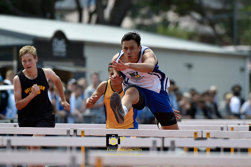Action from the Athletics - McEvedy Shield at Newtown Park, Wellington, New Zealand on Tuesday 3 March 2015. <br /> Photo by Masanori Udagawa. <br /> www.photowellington.photoshelter.com.