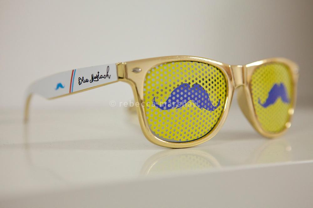 Glasses on sale at The Blue Mustach Shop, Village des Createurs, Lyon, France, 14 January 2012
