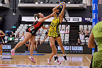 Central Manawa&rsquo;s Saviour Tui and Hellers Mainland&rsquo;s Olivea Burnham in action during the Beko Netball League - Central Manawa v Hellers Mainland at Fly Palmy Arena, Palmerston North, New Zealand on Sunday 10 March 2019. <br /> Photo by Masanori Udagawa. <br /> www.photowellington.photoshelter.com