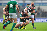 Mitchell Jacobson of New Zealand U20 takes on the Ireland U20 defence. World Rugby U20 Championship match between New Zealand U20 and Ireland U20 on June 11, 2016 at the Manchester City Academy Stadium in Manchester, England. Photo by: Patrick Khachfe / Onside Images