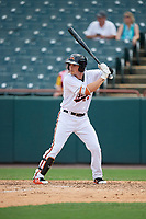 Bowie Baysox Preston Palmeiro (7) at bat during an Eastern League game against the Akron RubberDucks on May 30, 2019 at Prince George's Stadium in Bowie, Maryland.  Akron defeated Bowie 9-5.  (Mike Janes/Four Seam Images)