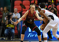 20200206 – OOSTENDE ,  BELGIUM : Belgian Ann Wauters (12) pictured defending during a basketball game between the national teams of Canada and the National team of Belgium named the Belgian Cats on the first matchday of the FIBA Women's Qualifying Tournament 2020 , on Thursday 6  th February 2020 at the Versluys Dome in Oostende  , Belgium  .  PHOTO SPORTPIX.BE   DAVID CATRY