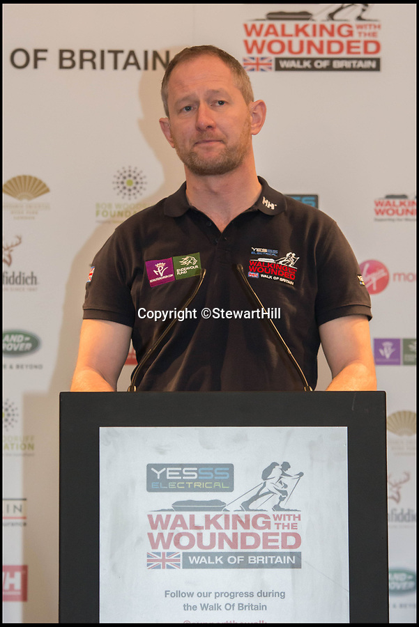BNPS.co.uk (01202 558833)Pic: StewartHill/BNPS<br /> <br /> Stewart Hill pictured at Walking for the wounded event.<br /> <br /> An army hero who suffered life-changing injuries in Afghanistan is now forging a new career as a portrait painter after art became part of his recovery.<br /> <br /> To the unknowing eye Lt Col Stewart Hill looks a picture of health, but he has a severe traumatic brain injury after an IED exploded next to him nine years ago.<br /> <br /> Lt Col Hill was medically discharged from the army but his injuries make it impossible for him to maintain a 'normal' job.<br /> <br /> Struggling to come to terms with what had happened he turned to painting, something he had not done since school, as part of his therapy.<br /> <br /> But it has now turned into a career, with him winning prestigious prizes and lining up a host of well-known faces to sit for him including actor Ray Winstone, TV presenter Nick Knowles and choirmaster Gareth Malone.
