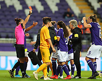 20190912 - Anderlecht , BELGIUM : Referee Rebecca Welch is pictured showing a red card during the female soccer game between the Belgian Royal Sporting Club Anderlecht Dames  and BIIK Kazygurt from Shymkent in Kazachstan, this is the first leg in the round of 32 of the UEFA Women's Champions League season 2019-20120, Thursday 12 th September 2019 at the Lotto Park in Anderlecht , Belgium. PHOTO SPORTPIX.BE | SEVIL OKTEM