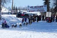 Kaye Berg crosses the finish of the Jr. Iditarod   Willow, Alaska