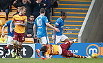 31.3.2018: Motherwell v Rangers: <br /> Bruno Alves brushes aside Curtis Main in the box and Motherwell appeal for a penalty