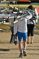 Banyoles, SPAIN,  ITA M8+ coax , carries  the crews blades back to the boat racks.  FISA World Cup Rd 1. Lake Banyoles Saturday - 30/05/2009   [Mandatory Credit. Peter Spurrier/Intersport Images]