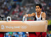 Aug. 9, 2008; Beijing, CHINA; Raj Bhavsar (USA) prepares to perform on the pommel horse during mens gymnastics qualification during the Olympics at the National Indoor Stadium. Mandatory Credit: Mark J. Rebilas-