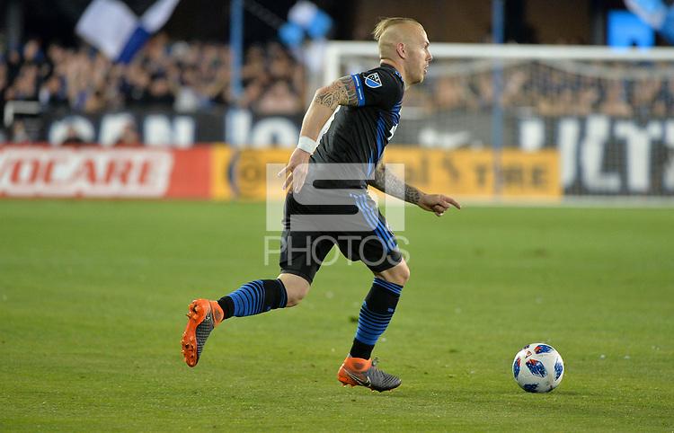 San Jose, CA - Saturday March 03, 2018: Magnus Eriksson during a 2018 Major League Soccer (MLS) match between the San Jose Earthquakes and Minnesota United FC at Avaya Stadium.