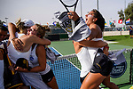 SURPRISE, AZ - MAY 11: Julie Razafindranaly, right, and Sonja Larsen of the Barry Buccaneers celebrate their team's Championship title win during the Division II Women's Tennis Championship held at the Surprise Tennis & Racquet Club on May 11, 2018 in Surprise, Arizona. (Photo by Jack Dempsey/NCAA Photos via Getty Images)