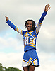 Roosevelt cheerleader Davianna Thompson entertains the crowd from atop a pyramid during halftime of a Nassau County Conference III varsity football game against Plainedge at Roosevelt High School on Saturday, Oct. 13, 2018.