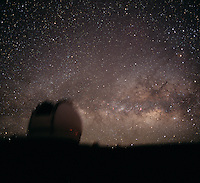 The Keck 1 Telescope dome with the Milky Way rising behind it.  Mauna Kea Observatory, Hawaii.