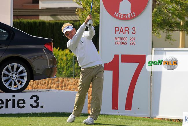 Soren Kjeldsen (DEN) tees off on the par3 17th hole during Saturday's rain delayed Round 3 of the Open de Espana at Real Club de Golf de Sevilla, Seville, Spain, 5th May 2012 (Photo Eoin Clarke/www.golffile.ie)