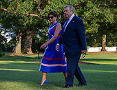 Amalija Knavs and Viktor Knavs, the parents of first lady Melania Trump, return to the White House following a stay in Bedminster, New Jersey in Washington, D.C. on August 18, 2019. <br /> Credit: Tasos Katopodis / Pool via CNP