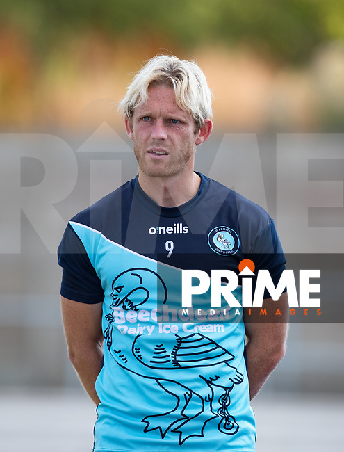 Craig Mackail-Smith of Wycombe Wanderers pre match during the 2018/19 Pre Season Friendly match between Chesham United and Wycombe Wanderers at the Meadow , Chesham, England on 24 July 2018. Photo by Andy Rowland.