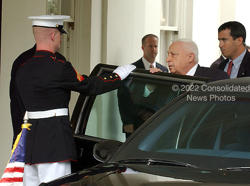 Prime Minister Ariel Sharon of Israel arrives at the White House in Washington, D.C. on July 29, 2003 for talks with United States President George W. Bush.  His visit follows the visit on July 25, 2003 by Prime Minister Abu Mazen of the Palestinian Authority.<br /> Credit: Ron Sachs / CNP
