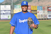 Edinson Bock (41) of the Ogden Raptors poses for a photo during media day on June 14, 2014 at Lindquist Field in Ogden, Utah. (Stephen Smith/Four Seam Images)