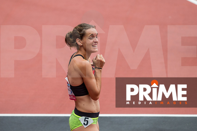 Esther GUERRERO PUIGDEVALL of Spain looks up after getting a PB 2.00.96 in the 800m during the IAAF Diamond League Muller London Anniversary Games 2017 at the Queen Elizabeth Park, Olympic Park, London, England on 9 July 2017.  Photo by Andy Rowland.
