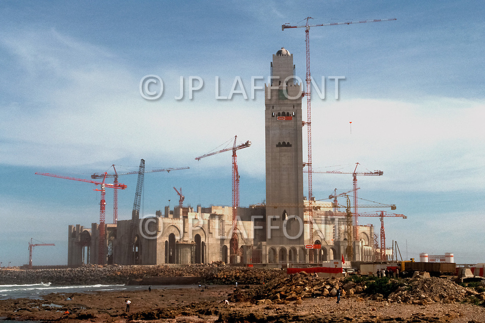 March 5, 1989, Casablanca, Morocco. The Hassan II Mosque under construction. The mosque was completed in 1993.