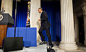 New York, NY - September 14, 2009 -- United States President Barack Obama arrives to speak at Federal Hall National Memorial in New York, U.S., on Monday, September 14, 2009. Obama, speaking a year after Lehman Brothers Inc. collapse, outlined his plan for unwinding government involvement in the financial sector. .Credit: Daniel Acker / Pool via CNP
