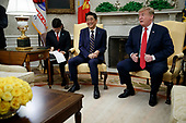 US President Donald J. Trump meets with Japanese Prime Minister Shinzo Abe in the Oval Office of the White House in Washington, DC, USA, 26 April 2019. President Trump is hosting a dinner for Prime Minister Abe and his wife celebrating the First Lady's 49th birthday<br /> Credit: Shawn Thew / Pool via CNP