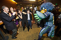 Seattle Seahawks mascot Blitz poses for photos by guests at the 77th Annual Sports Star of the Year, presented by ROOT SPORTS, at Benaroya Hall in Seattle Wednesday, Jan. 27, 2012. The evening honors Northwest sports stars, carrying on an annual tradition started by Seattle Post-Intelligencer sports editor Royal Brougham in 1936. (Photography by Andy Rogers/Red Box Pictures)