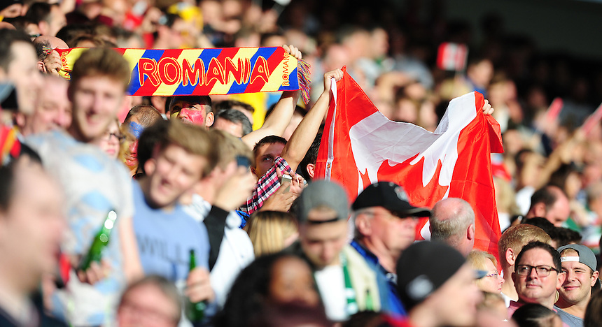 Fans from both sides ahead of kick off<br /> <br /> Photographer Chris Vaughan/CameraSport<br /> <br /> Rugby Union - 2015 Rugby World Cup Pool D - Canada v Romania - Tuesday 6th October 2015 - King Power Stadium, Leicester <br /> <br /> &copy; CameraSport - 43 Linden Ave. Countesthorpe. Leicester. England. LE8 5PG - Tel: +44 (0) 116 277 4147 - admin@camerasport.com - www.camerasport.com