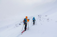 Back country cross country skiing along the Canwell Glacier moraine in the Alaska Range mountains.