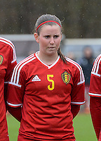 20150404 - FORST , GERMANY  : Belgian Chloe Van Mingeroet  pictured during the soccer match between Women Under 19 teams of Belgium and Ukraine , on the first matchday in group 5 of the UEFA Elite Round Women Under 19 at WaldseeStadion , Forst , Germany . Saturday 4th April 2015 . PHOTO DAVID CATRY