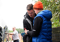 Blackpool's Ben Heneghan signs an autograph for a fan after arriving at the ground<br /> <br /> Photographer Chris Vaughan/CameraSport<br /> <br /> The EFL Sky Bet League One - Coventry City v Blackpool - Saturday 7th September 2019 - St Andrew's - Birmingham<br /> <br /> World Copyright © 2019 CameraSport. All rights reserved. 43 Linden Ave. Countesthorpe. Leicester. England. LE8 5PG - Tel: +44 (0) 116 277 4147 - admin@camerasport.com - www.camerasport.com