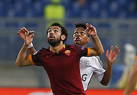 AS Roma's Mohamed Salah and Leverkusen's Wendell  during the Champions League Group E soccer match between As Roma and  Bayer Leverkusen at the Olympic Stadium in Rome, November 04 2015