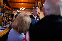 "Senator Scott Brown (R-MA) greets supporters at a ""Women For Brown"" meet and greet at The Olde Post Office Pub in North Grafton, Massachusetts, USA, on Thurs., Nov. 2, 2012. Senator Scott Brown is seeking re-election to the Senate.  His opponent is Elizabeth Warren, a democrat."