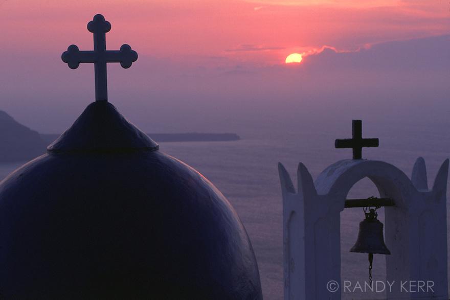Crosses on Greek Church in Santorini