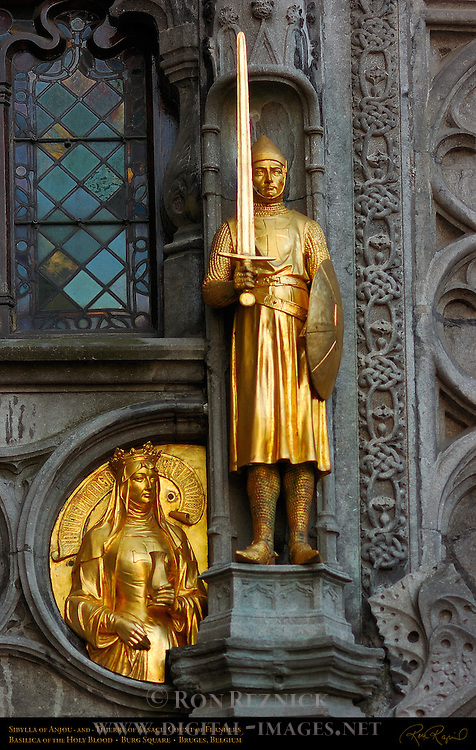 Sibylla of Anjou and Thierry of Alsace, Basilica of the Holy Blood Facade Detail, Burg Square, Bruges, Brugge, Belgium