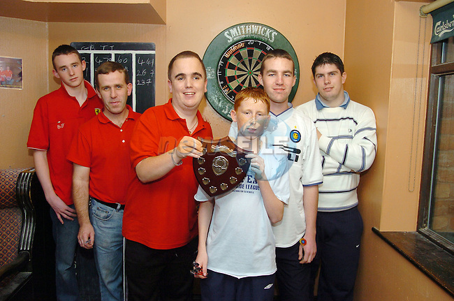 20th October, 2006. Photographed with the Drogheda and District Darts League trophy are from L to R: T.J. Dixon, Garry Bradley, Stephen Rooney, James Neary, Chris Murray and Anthony Smith. &amp;#xA;&amp;#xA;Photo: BARRY CRONIN/Newsfile.&amp;#xA;(Photo credit should read BARRY CRONIN/NEWSFILE)&amp;#xA;<br />