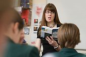 Julie Greenhough teaches a Year 8 English class at St Benedict's School, Ealing.